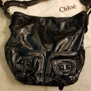 Chloe Patent Leather Studded Elvire Bucket Bag